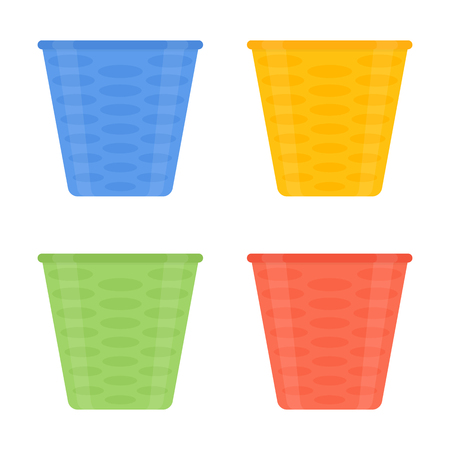 Vector illustration of multicolored flower pots isolated on white background. Plastic flower pot in flat style. House decoration. Vectores