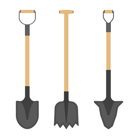Vector illustration of shovels isolated on white background. Work tool in flat style, for outdoor activities, digging, gardening. Construction equipment.