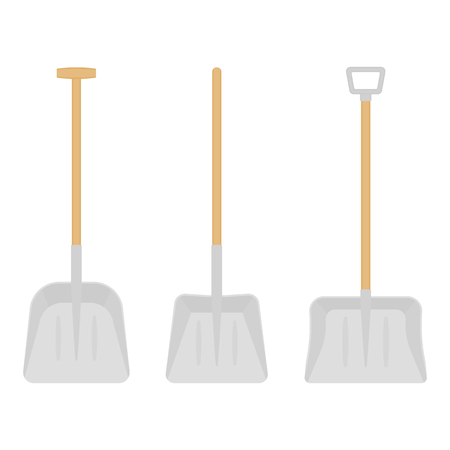 Vector illustration of scoop shovels isolated on white background. Work tool in flat style, for snow removal, digging, gardening. Construction equipment.