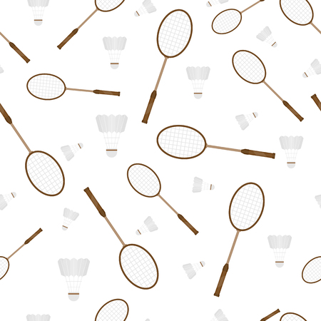 Vector illustration of badminton racket and shuttlecock isolated in white background. Seamless pattern with sport equipment.