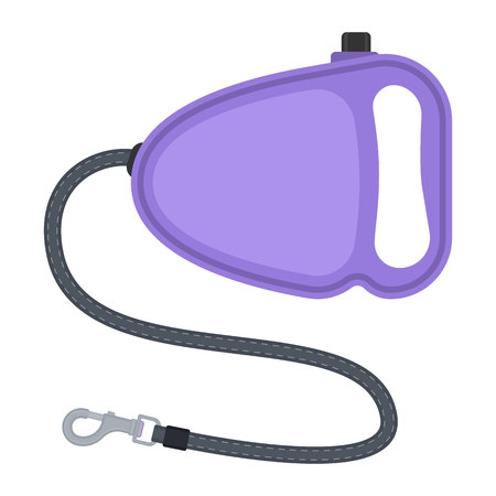 Vector illustration of retractable leash with tape and carabiner isolated on white background. Pet supplies. Dog equipment in flat style.  イラスト・ベクター素材