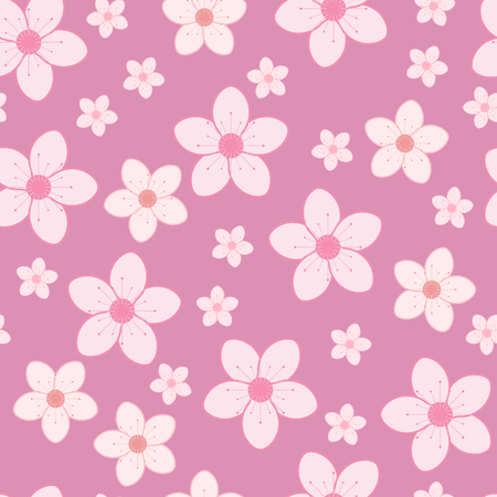 Seamless pattern of pink cherry blossom. Vector illustration of sakura background. Spring flowers in flat style.
