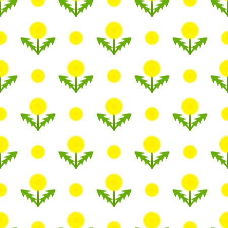 Vector illustration of dandelion. Taraxacum Officinale herb flower seamless pattern on white.  イラスト・ベクター素材