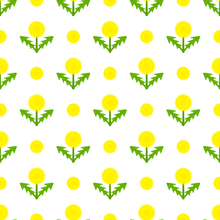 Vector illustration of dandelion. Taraxacum Officinale herb flower seamless pattern on white. Vettoriali