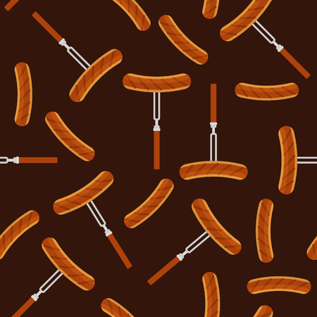 Vector illustration of grilled sausage on roasting stick in flat design. Seamless pattern Vectores