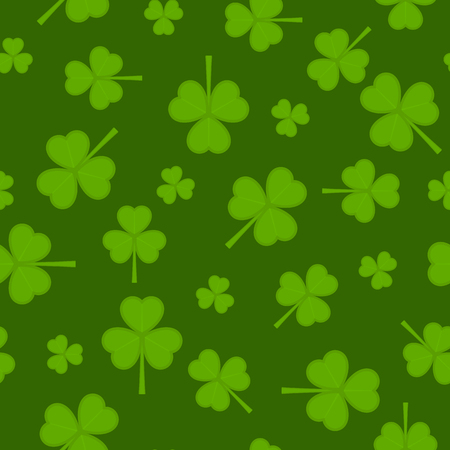 A Vector illustration of shamrock seamless pattern on green background.