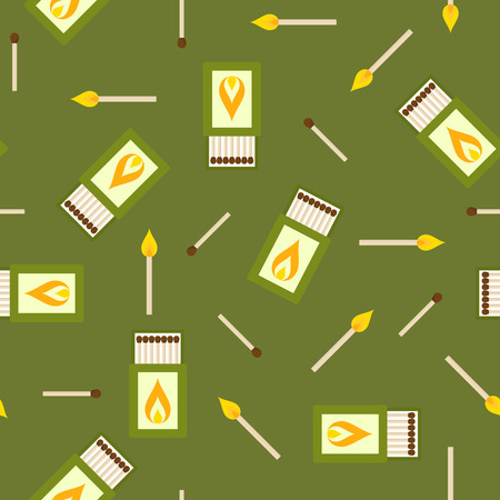 Seamless pattern of matches box isolated on white background. Matchbox and burning match for camping, hiking, survival in flat style. Open matchbook vector illustration