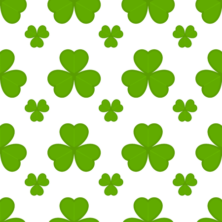 Vector illustration of shamrock seamless pattern on white background. Saint Patricks Day symbol in flat style. Green clover icon for Irish holiday.