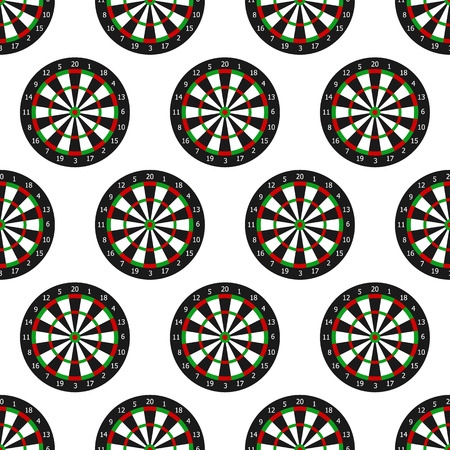Seamless pattern of dartboard with numbers isolated on white background, in flat style. Vector illustration.