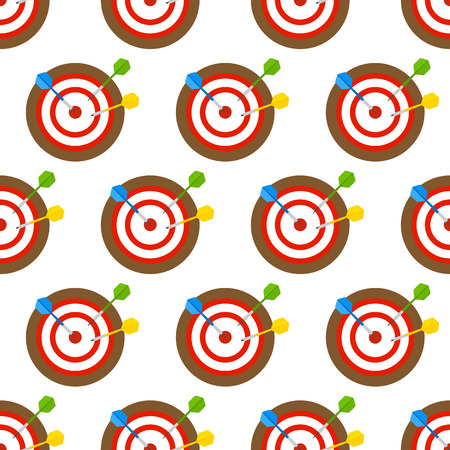 Vector illustration of colorful darts isolated on white background, in flat style. Seamless pattern with dartboard. Vectores