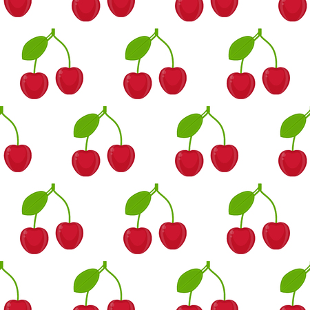 Seamless pattern with cherries isolated on white background. Vector illustration of berries. Vectores