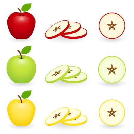 Appels rood, groen en goud met plakjes. Vector illustratie geïsoleerd op een witte achtergrond.