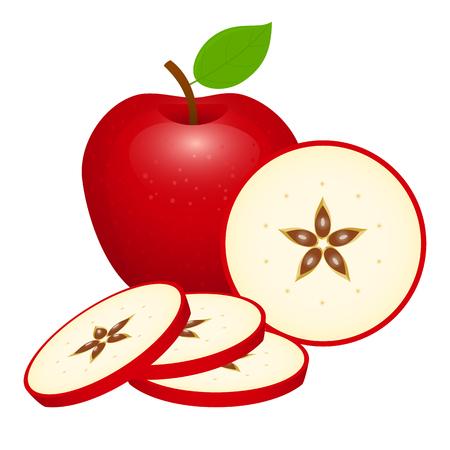 Rodajas de manzana roja. Ilustración de vectores aislado sobre fondo blanco. Foto de archivo - 95891371