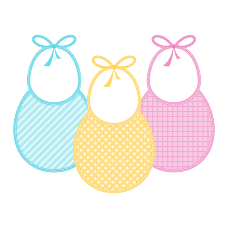Set with decorated baby bibs in pastel colors. Vector illustration isolated on white background. Baby feeding objects Vectores