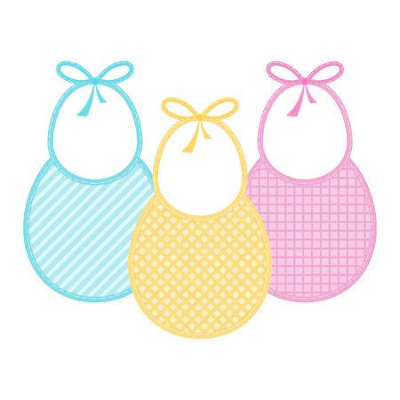 Conjunto con baberos decorados en colores pastel. Ilustración de vectores aislado sobre fondo blanco. Bebé alimentando objetos Foto de archivo - 95891372
