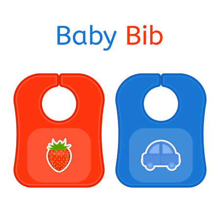 Baby bib in bright colors isolated on white background. Vector illustration of baby feeding supplies.