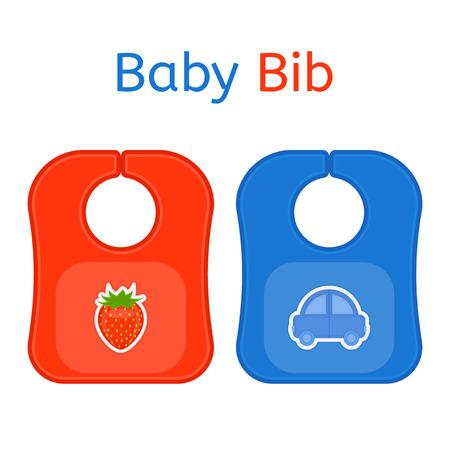 Babero de bebé en colores brillantes aislado sobre fondo blanco. Ilustración de vector de suministros de alimentación para bebés. Foto de archivo - 95891394
