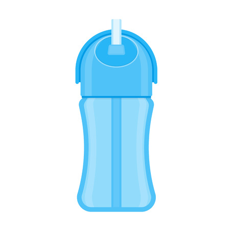 Baby sippy cup with straw, isolated on white background. Vector illustration of toddler feeding equipment. Baby care supplies Vectores
