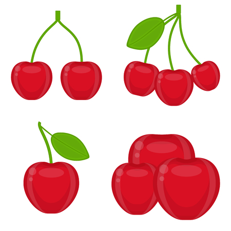 Vector illustration of cherry with leaf isolated on white background. Red shiny berries in flat style. Vectores