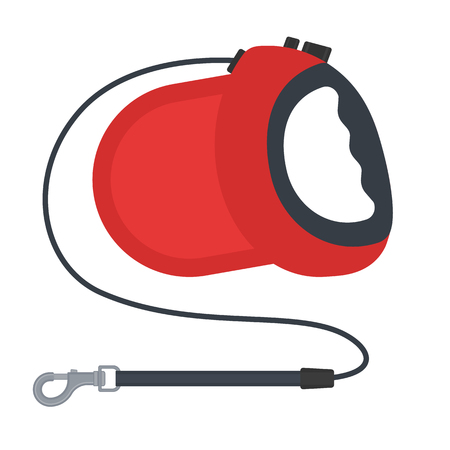 Vector illustration of retractable cord leash with carabiner isolated on white background. Pet supplies. Dog equipment in flat style.  イラスト・ベクター素材