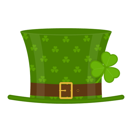 St Patrick's Day green leprechaun hat decorated with clover leaf, isolated on white background.