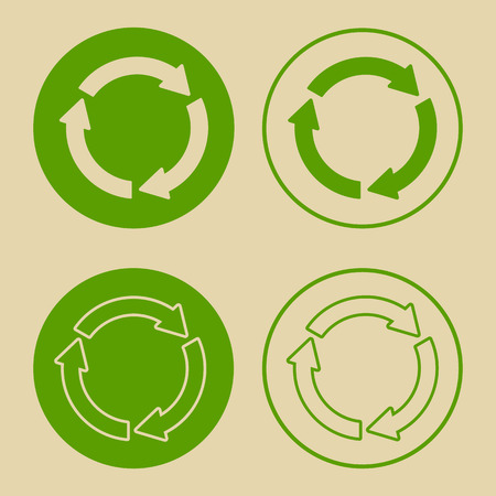 Vector illustration of green recycle symbol. Set of recycling sign, on paper, in flat style.