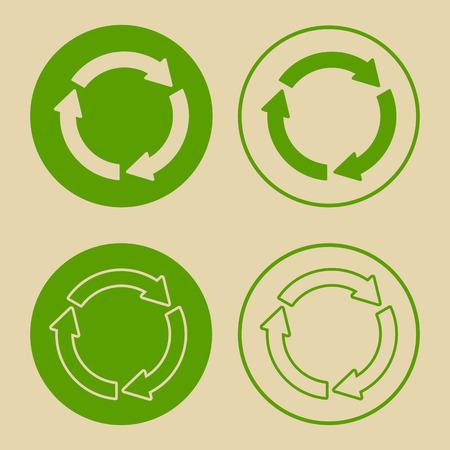 Ilustración de vector de símbolo de reciclaje verde. Conjunto de signo de reciclaje, en papel, en estilo plano. Foto de archivo - 95818534