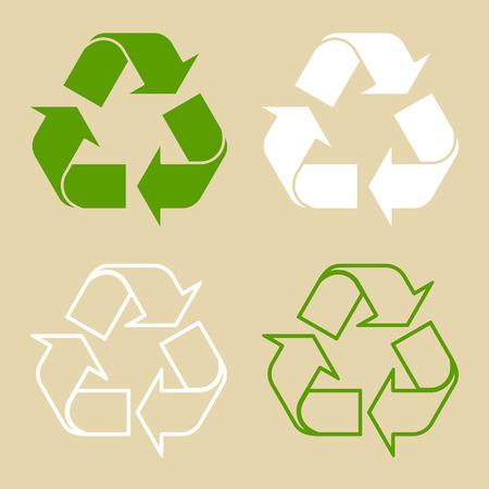 Ilustración de vector de símbolo de reciclaje verde. Conjunto de signo de reciclaje, en papel, en estilo plano. Foto de archivo - 95818535