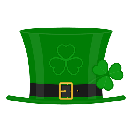 St Patricks Day green leprechaun hat decorated with clover leaf, isolated on white background. Illustration
