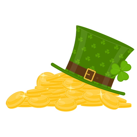 St Patrick's Day green leprechaun hat on the pile of gold, decorated with clover leaves, isolated on white background. Vectores