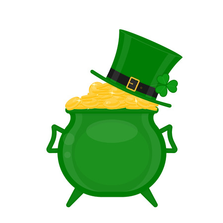 St Patrick's Day green leprechaun hat on the cauldron with gold coins, decorated with clover leaf, isolated on white background.