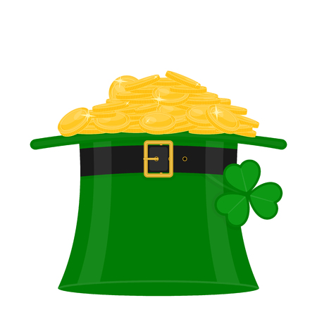 St Patrick's Day green leprechaun hat with heap of gold coins, decorated with clover leaf, isolated on white background. Vectores