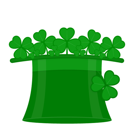 St Patrick's Day green leprechaun hat with clover leaves, isolated on white background. Иллюстрация