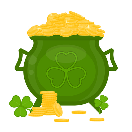 St Patricks Day green leprechaun cauldron with gold coins and clover leaf isolated on white background.
