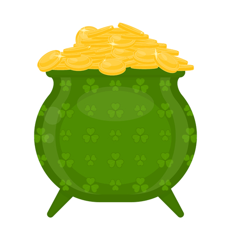 St Patrick's Day green leprechaun cauldron with gold coins decorated with clover leaves, isolated on white background.