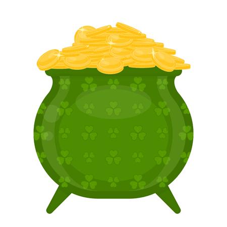 Caldero verde del duende del día de St Patrick con las monedas de oro adornadas con las hojas del trébol, aisladas en el fondo blanco. Foto de archivo - 95815206