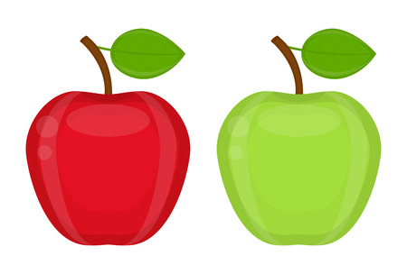 Apple red and green with leaf. Vector illustration isolated on white background.