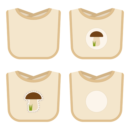 Baby bib set with stickers isolated on white background. Vector illustration of baby feeding supplies. Vectores