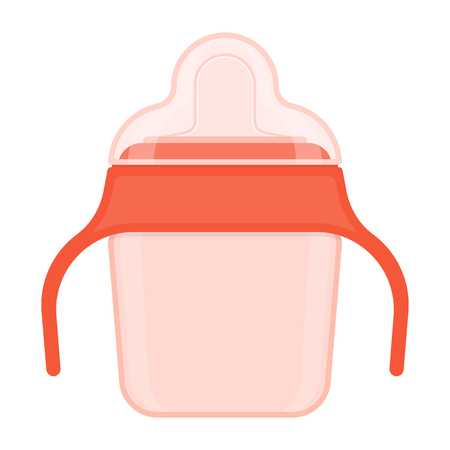 Baby sippy cup with cover isolated on white background. Vector illustration of toddler feeding equipment.