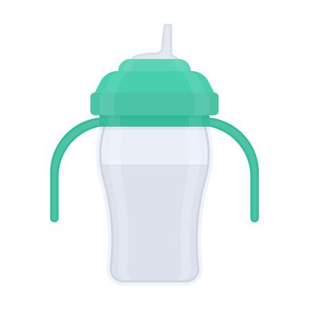 Baby sippy cup, aislado sobre fondo blanco. Ilustración de vector de equipo de alimentación del niño. Foto de archivo - 95816117