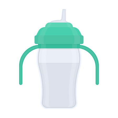 Baby sippy cup, isolated on white background. Vector illustration of toddler feeding equipment.