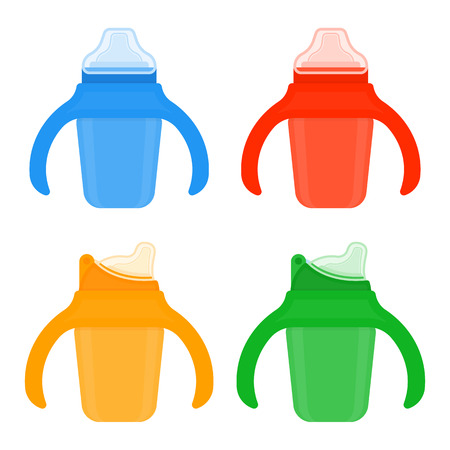 Baby sippy cups in bright colors isolated on white background. Vector illustration of toddler feeding equipment. Vectores