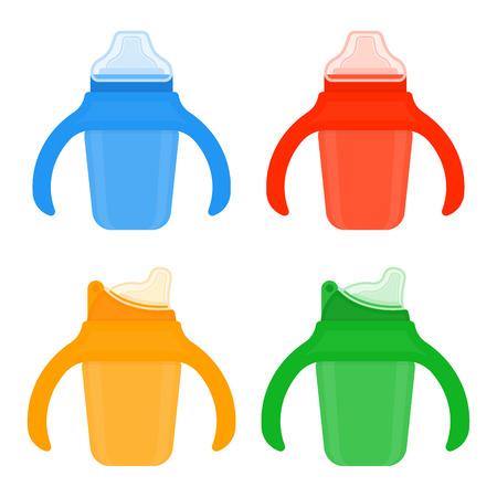 Tazas de bebé en colores brillantes aisladas sobre fondo blanco. Ilustración de vector de equipo de alimentación del niño. Foto de archivo - 95816118