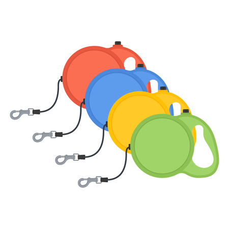 Vector illustration of retractable dog cord leashes isolated on white background. Pet supplies. Dog walking equipment in flat style.