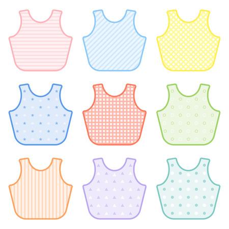 Conjunto con baberos decorados en colores pastel. Ilustración de vectores aislado sobre fondo blanco. Equipo de alimentación del bebé Foto de archivo - 95816120