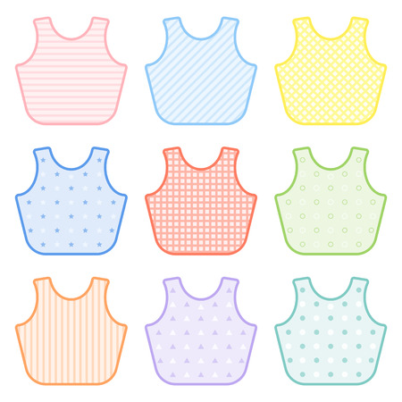 Set with decorated baby bibs in pastel colors. Vector illustration isolated on white background. Baby feeding equipment