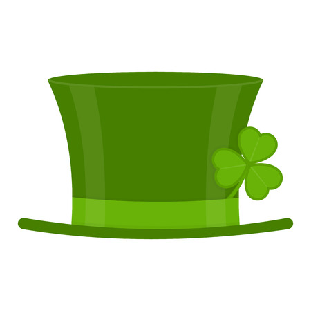 St Patrick's Day green leprechaun hat with clover leaf isolated on white background. Vector illustration of Irish holiday symbol Vectores