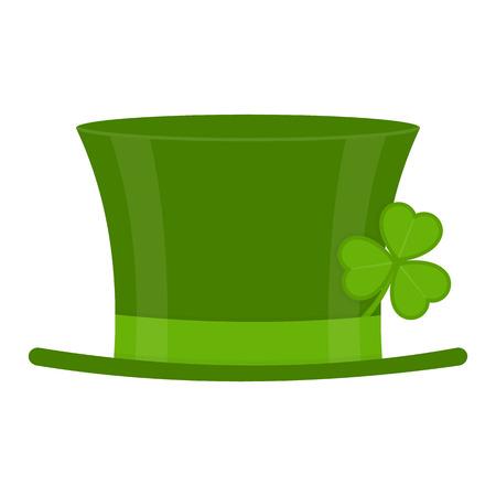 Sombrero del duende verde del día de St Patrick con la hoja del trébol aislada en el fondo blanco. Ilustración de vector de símbolo de vacaciones irlandés Foto de archivo - 95816123