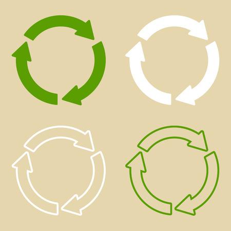 Ilustración de vector de símbolo de reciclaje verde. Conjunto de signo de reciclaje, en papel, en estilo plano. Foto de archivo - 95816946