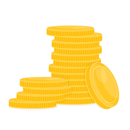 Pila de monedas de oro aisladas sobre fondo blanco. Ilustración de vector de dinero Foto de archivo - 96319808